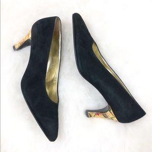 Escada Black Suede Gold Harlequin Design Low Heels